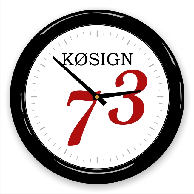 73 Wall Clock with Callsign Red